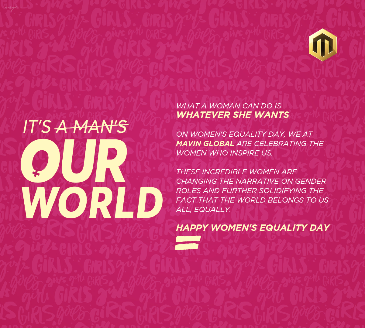 Mavin Global Create 'It's Our World' Campaign to Commemorate Women's Equality Day